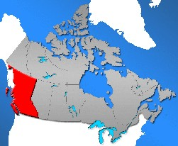 Lage von BC innerhalb Kanadas